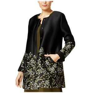 Alfani Womens Jacket Floral Print Scuba Swing Snap